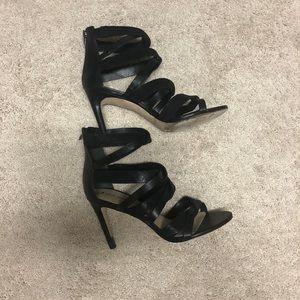 Via Spiga Black Leather Cage Heels Sz 38.5